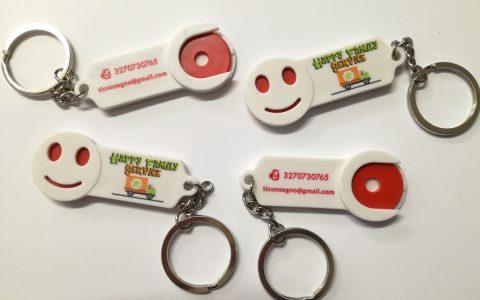 Cliente: Happy Family Services Stampa diretta portachiavi con disco per carrello spesa